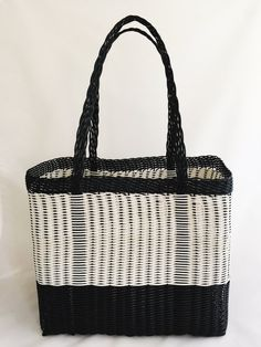 Black & White Handwoven Recycled Plastic Tote, Shopper Bag, Women Tote… Each Eco Pop Bag is artisan made, what makes it one of a kind piece. This beautiful tote is design to be durable, waterproof, lightweight and easy to clean.