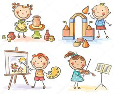 Buy Kids in Different Creative Activities by katya_dav on GraphicRiver. Kids engaged in different creative activities Drawing School, Drawing For Kids, Art For Kids, Creative Activities, Preschool Activities, Stick Figure Drawing, Kids Background, Happy Cartoon, Cartoon Sketches