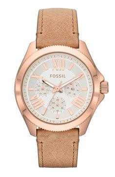 Fossil 'Cecile' Multifunction Leather Strap Watch, 40mm available at #Nordstrom