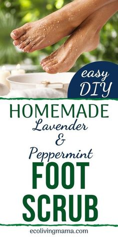 A quick and easy DIY foot scrub recipe to exfoliate feet and remove dead skin. Sea salt, avocado oil and essential oils leave feet moisturized and smooth.Dry heels, easy, gift, natural, cracked feet, recipe, how to make, DIY, recipe, homemade, easy, call