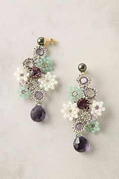 8121e91db586 Beaded Gems Full Of Posies Earrings - delicate work by Tataborello