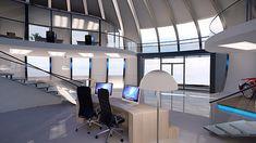 Rundes Modulhaus-Konzept in Leichtbauweise für flexible Einsatzmöglichkeiten. Architecture Visualization, Conference Room, Space, Studio, Table, Projects, Furniture, Home Decor, Light Building