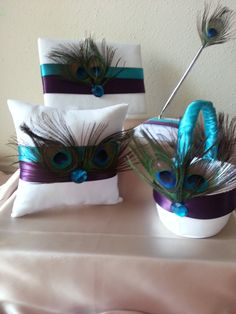 Eggplant Purple and Teal Peacock Wedding by EmbellishedTouch, $150.00