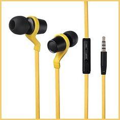 Amazon.com: TOPKK Flat Cable Metal Earphones with Mic , Yellow: Computers & Accessories