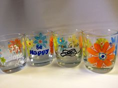 Faith Hope Love glasses by Brusheswithaview on Etsy, $25.00 - these glasses are so pretty and cheerful!