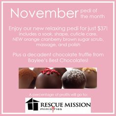 November orange cranberry pedi of the month supporting Rescue Mission 2014