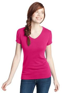 Buy the District - Juniors 1x1 Rib V-Neck Tee Style DT234V from SweatShirtStation.com, on sale now for $9.98 #fuchsia #tshirt #tee #vneck
