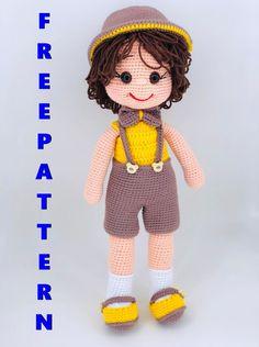 Giraffe Crochet, Crochet Baby Toys, Crochet Geek, Crochet Teddy, Crochet For Boys, Crochet Doll Tutorial, Crochet Doll Pattern, Crochet Amigurumi Free Patterns, Boy Doll