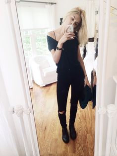 -christie's closet- bardot top black skinny jeans and black boots