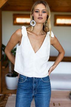 Tie Shoulder Mod Top - White Linen - Emerson Fry Linen, Rayon blend Lined Tie adjustable shoulder A line shape V neck and v back Model is Summer Outfits, Casual Outfits, Cute Outfits, White Linen Trousers, White Linen Skirt, Looks Style, Vintage Denim, Vintage Sewing, Athleisure