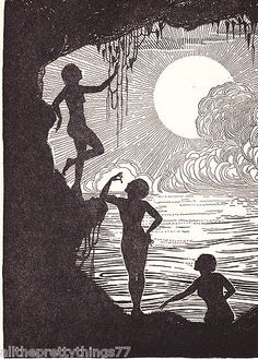 Vintage Matted Don Blanding 1943 Print Deco Picture Silhouette Swimming Girls | eBay
