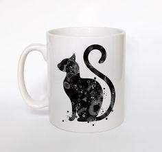 Noir chat Mug chat coupe aquarelle chat café Mug chat par ArtsPrint