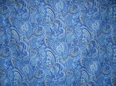 Blue Paisley Print Pure Cotton Lawn by fabricsandtrimmings on Etsy, $9.98