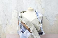 Linen Patchwork Scarf with handmade lace, linen and cotton