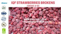 Sinofrost - Frozen Strawberry Brokens Supplier China - IQF Strawberry Br... Strawberry Puree, Frozen Strawberries, China, Food, Eten, Meals, Porcelain Ceramics, Porcelain, Freezing Strawberries
