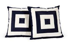 One Kings Lane - Grace Home Furnishings - Navy Stripe Outdoor Pillows, Pair Furnishings, White Porch, Pillows, Grace Home, Navy Stripes, Blue Color, Home Furnishings, Striped Outdoor Pillow, Stripe