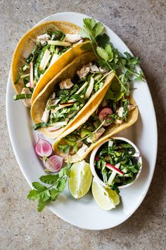 Chicken Tacos with Bok Choy & Radish Slaw