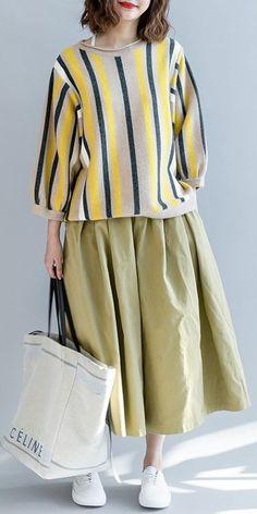 30342a5641e Casual Striped Loose Knitwear Women Cotton Tops For Fall · Linen ...