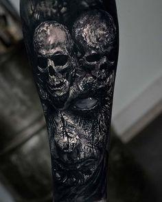 Horror Gallery by Sandry Riffard - Cool Tattoos - .- Horror Gallery by Sandry Riffard – Cool Tattoos – Gallery - Hand Tattoos, Skull Sleeve Tattoos, Evil Tattoos, Creepy Tattoos, Best Sleeve Tattoos, Badass Tattoos, Viking Tattoos, Sugar Skull Tattoos, Body Art Tattoos