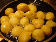"""Lugmet El Qadi, literally """"The Judge's Mouthful,"""" is a fried dessert made in much of the Arab world, known by many names including Zalab. Good Food, Yummy Food, Awesome Food, Mediterranean Desserts, Libyan Food, Tunisian Food, Delicious Deserts, Sweet Pastries, Middle Eastern Recipes"""