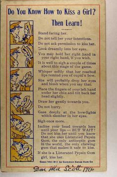 How To Kiss A Girl Back In 1911 Ahahaha! I was taking it so seriously! Did not expect that lol back How To Kiss A Girl Back In 1911 [Infographic] Plakat Design, Old Advertisements, Old Ads, Robert Plant, Make Me Smile, Did You Know, Just In Case, Funny Pictures, Funny Images