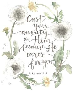 1 Peter - Cast your anxiety on Him because He cares for you. - God's love from the Bible - Jesus inspiration - hope Bible Verses Quotes, Bible Scriptures, Godly Quotes, Qoutes, Bible Quotes For Anxiety, Peace Bible Quotes, Positive Bible Verses, Worry Bible Verses, Bible Quotes