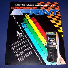 CHAMPIONSHIP SPRINT ATARI 1986 ORIGINAL NOS VIDEO ARCADE GAME PROMO SALES FLYER  #atari #classicvideogame #retroarcade #videogameflyer