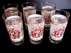 Christmas Carolers Glasses 6 Frosted Christmas Tumblers Vintage Indiana Glass 12oz Red Green