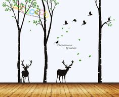 Wall Decal, wall Stickers ,Tree Wall Decals ,Wall decals, Nursery wall decal,Children wall decals, Removable, 3 trees, Birds and 2 deer. $55.95, via Etsy.