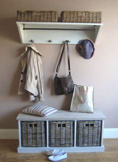 Tetbury Hallway Storage Bench and Shelf from magnolia lane Good for the utility room? Hallway Storage Bench, Porch Storage, Wall Shelves, Cloakroom Storage, Coat And Shoe Storage, Hallway Decorating, Home Organization, Mudroom Organizer, Organizing