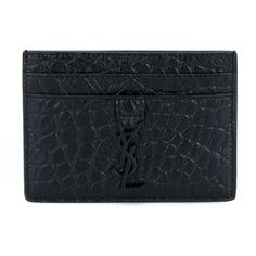 Saint Laurent Monogram Leather Card Case ($195) ❤ liked on Polyvore featuring bags, wallets, black, monogrammed wallet, leather card case wallet, yves saint laurent, genuine leather bag and yves saint laurent bags