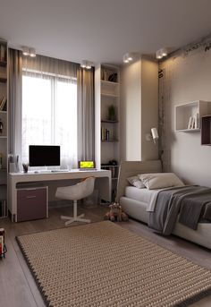 Small room design – Home Decor Interior Designs Room Design Bedroom, Girl Bedroom Designs, Room Ideas Bedroom, Small Room Bedroom, Home Room Design, Home Office Design, Home Interior Design, Office Room Ideas, Guest Room Office