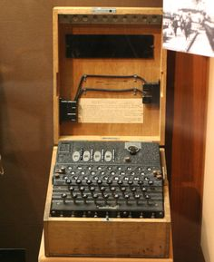 A four–rotor Kriegsmarine (German Navy, 1935 to Enigma machine on display at the US National Cryptologic Museum James Bond, Dieppe Raid, Poland Facts, Enigma Machine, Bletchley Park, North African Campaign, German Submarines, Battle Of Britain, History