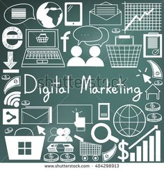 Digital marketing advertisement management and education handwriting doodle icon of sign symbol and analytic tools model in blackboard background used for presentation title with header text (vector)