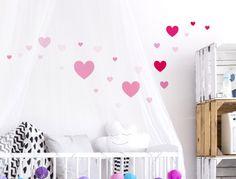 Pinke Wandaufkleber Herzen - 25 Stück