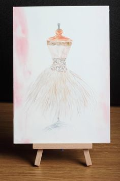 Wedding  Bridal Gift  Original Dress Painting and card set