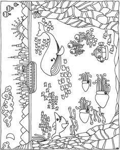 Welcome to Dover Publications - 6 Summer Coloring Pages, Coloring For Kids, Coloring Pages For Kids, Coloring Sheets, Coloring Books, Sea Illustration, Punch Needle Patterns, Pattern Coloring Pages, Dover Publications