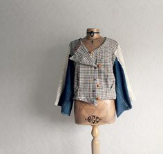 Karierte Damenjacke rekonstruierte Kleidung von BrokenGhostClothing