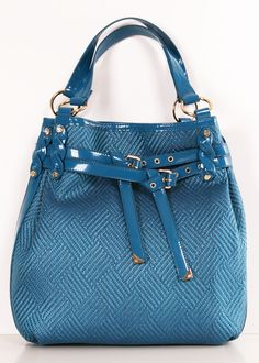 Francesco Biasia Dark Turquoise Woven Raffia & Patent leather Shoulder bag