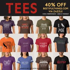 T-shirts for BOOKLOVERS! Save 40% today only. Designed by Beetiful. Sold by Zazzle. beetifulthings.com #cybermonday #zazzle #bookworm #books #authors #librarians #sale #writers
