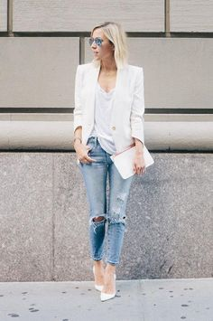 Casual summer work outfit idea: distressed jeans and a white blazer, inspired by Damsel in Dior