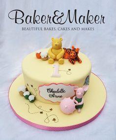 Classic Winnie the Pooh Handpainted 1st Birthday Cake - by Cakeybakeymakey @ CakesDecor.com - cake decorating website
