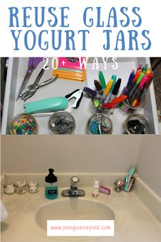 Have a growing collection of glass yogurt or pudding jars? Check out these 20  ideas to reuse glass yogurt jars in places like the kitchen and bathroom and even office and craft use. Water Containers, Small Office, Candle Making, Just Giving, Glass Jars, Reuse, Tea Lights, Penguins, Blessings