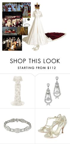 """Being crowned Queen during the ceremony at Westminster Abbey"" by new-generation-1999 ❤ liked on Polyvore featuring Marchesa"