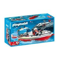 Amazon.com: Playmobil Fire Boat with Trailer: Toys & Games
