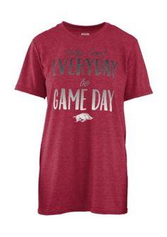 Royce Women's University Of Arkansas Everyday Game Day Short Sleeve Tee - Crimson - Xl