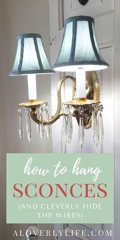DIY floor lamp sconces - A loverly life Wood Closet Doors, Diy Floor Lamp, Hide Wires, Cottage Furniture, Simple Furniture, Diy Flooring, Lighting Solutions, Home Projects, Diy Design