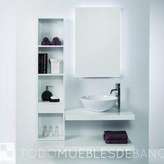 CONJUNTO COMPLETO (Mueble + Lavabo + Espejo) Tetris 1 de Madero de 100cm