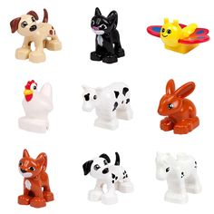 Cute Animal Forest Farm Ocean Models Duploe Figures Compatible with Toy DIY Building Creative Blocks Toys for Children  Price: 1.02 USD