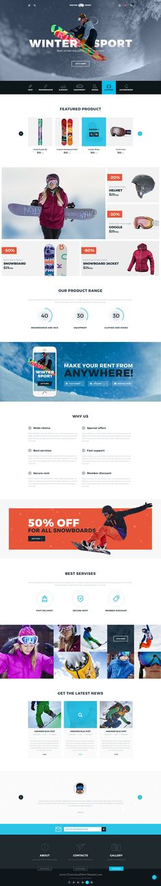 Winter Sport - #Ski & Snowboard Rental #PSD Template. Download folder consists of 35 layered PSD files.